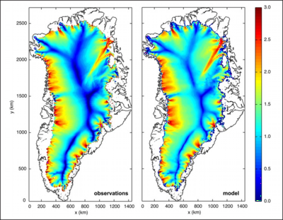 Balance velocities for the Greenland ice sheet (left) from Jonathan Bamber and modeled velocities from higher-order Glimmer/CISM (right) with basal sliding tuned to match balance velocities.